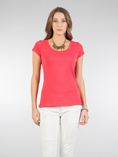COLINS красный женский футболки короткий рукав<br>Пол: женский; Цвет: красный; Размер INT: M;