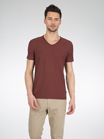 COLINS бордовый мужской футболки короткий рукав<br>Пол: мужской; Цвет: бордовый; Размер INT: L;