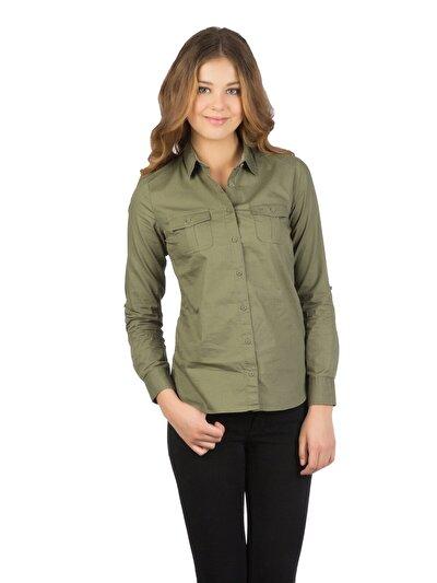 COLINS хаки женский рубашки длинний рукав<br>Пол: женский; Цвет: хаки; Размер INT: XS;