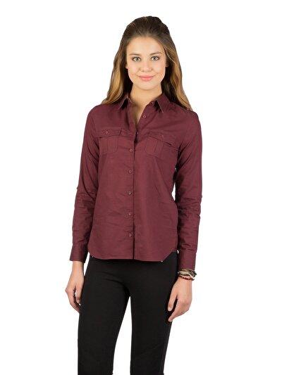 COLINS пурпурный женский рубашки длинний рукав<br>Пол: женский; Цвет: сливовый; Размер INT: XS;