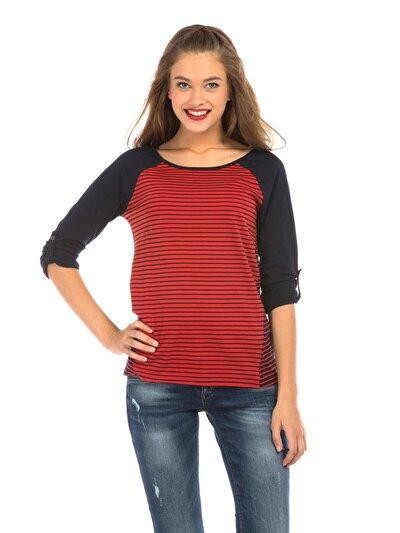 COLINS кораловый женский футболки длинный рукав<br>Пол: женский; Цвет: кораловый; Размер INT: L;