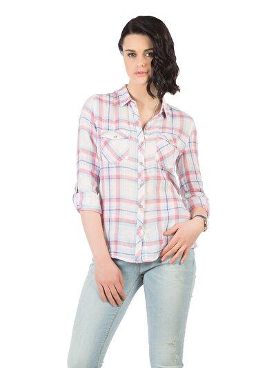COLINS розовый женский рубашки длинний рукав<br>Пол: женский; Цвет: карамельно-розовый; Размер INT: M;