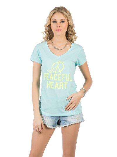 COLINS синий бирюзовый женский футболки короткий рукав<br>Пол: женский; Цвет: светло-бирюзовый; Размер INT: L;
