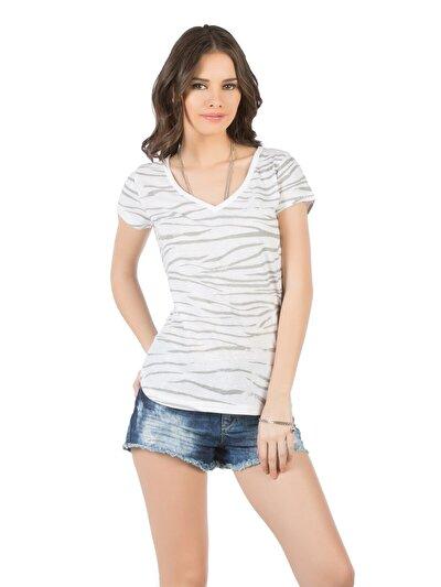 COLINS серый женский футболки короткий рукав<br>Пол: женский; Цвет: серый; Размер INT: L;
