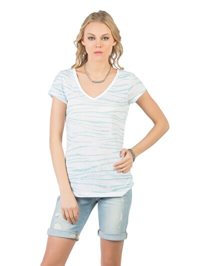 COLINS синий бирюзовый женский футболки короткий рукав<br>Пол: женский; Цвет: синий бирюзовый; Размер INT: XS;