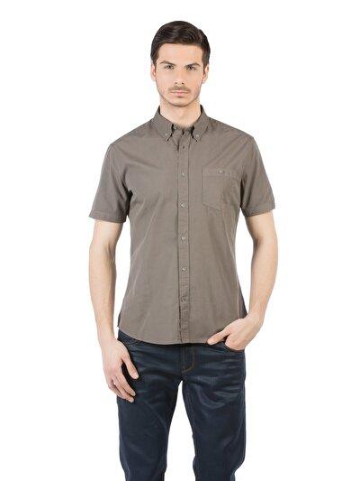 COLINS хаки мужской рубашки короткий рукав<br>Пол: мужской; Цвет: хаки; Размер INT: S;