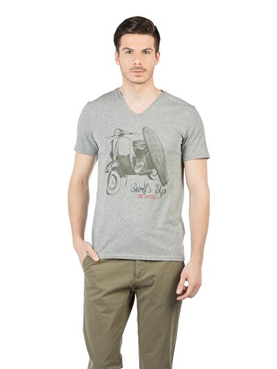 COLINS серый мужской футболки короткий рукав<br>Пол: мужской; Цвет: смешанный серый; Размер INT: L;