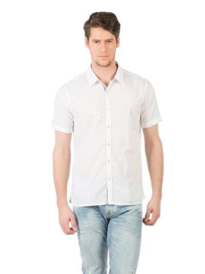 COLINS белый мужской рубашки короткий рукав<br>Пол: мужской; Цвет: белый; Размер INT: S;