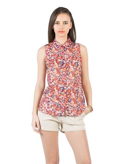 COLINS бордовый женский рубашки короткий рукав<br>Пол: женский; Цвет: бордовый; Размер INT: S;
