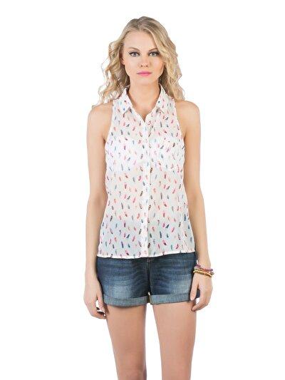 COLINS белый женский рубашки короткий рукав<br>Пол: женский; Цвет: белый; Размер INT: XS;