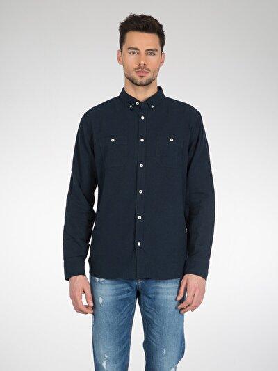 COLINS синий мужской рубашки длинний рукав<br>Пол: мужской; Цвет: темно-синий; Размер INT: S;