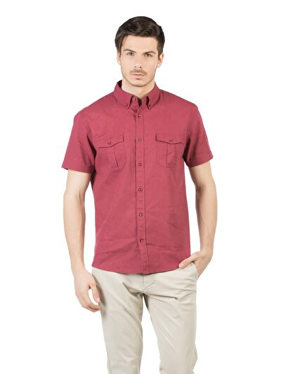 COLINS бордовый мужской рубашки короткий рукав<br>Пол: мужской; Цвет: бордовый; Размер INT: M;