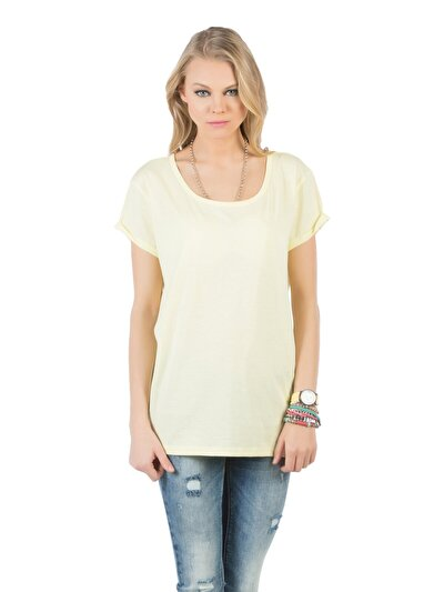COLINS желтый женский футболки короткий рукав<br>Пол: женский; Цвет: светло-желтый; Размер INT: M;