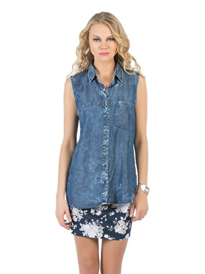 COLINS  женский рубашки короткий рукав<br>Пол: женский; Цвет: дарк шелли уош; Размер INT: L;