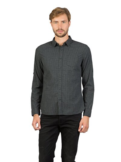 COLINS черный мужской рубашки длинний рукав<br>Пол: мужской; Цвет: черный; Размер INT: M;