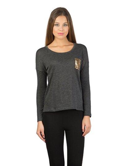 COLINS антрацит женский футболки длинный рукав<br>Пол: женский; Цвет: смешанный антрацит; Размер INT: M;