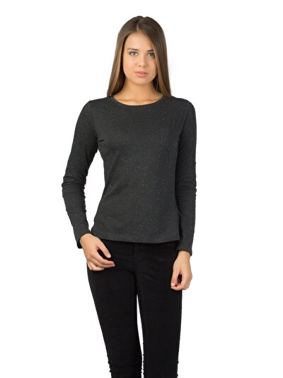 COLINS антрацит женский футболки длинный рукав<br>Пол: женский; Цвет: смешанный антрацит; Размер INT: XS;