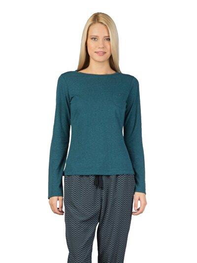 COLINS зеленый женский футболки длинный рукав<br>Пол: женский; Цвет: синевато-зелёный; Размер INT: L;