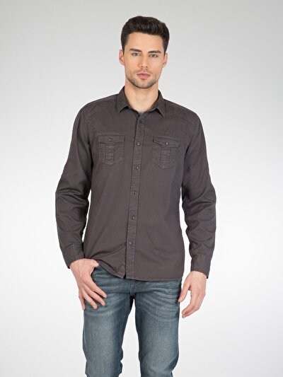 COLINS антрацит мужской рубашки длинний рукав<br>Пол: мужской; Цвет: антрацит; Размер INT: S;