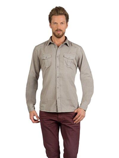 COLINS хаки мужской рубашки длинний рукав<br>Пол: мужской; Цвет: светлый хаки; Размер INT: L;