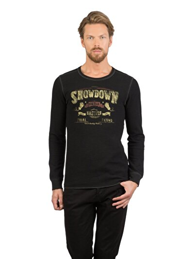 COLINS черный мужской футболки длинный рукав<br>Пол: мужской; Цвет: черный; Размер INT: M;