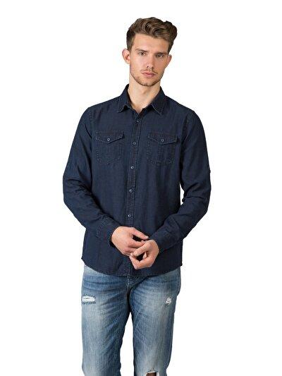 COLINS  мужской рубашки длинний рукав<br>Пол: мужской; Цвет: темного индиго; Размер INT: L;