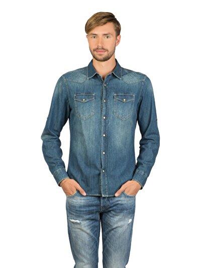 COLINS деним мужской рубашки длинний рукав<br>Пол: мужской; Цвет: ледженд уош; Размер INT: S;