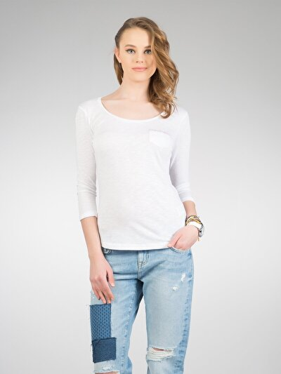 COLINS белый женский футболки длинный рукав<br>Пол: женский; Цвет: белый; Размер INT: XS;