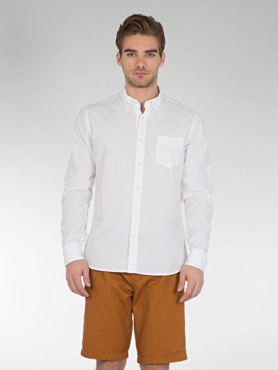 COLINS белый мужской рубашки длинний рукав<br>Пол: мужской; Цвет: белый; Размер INT: S;