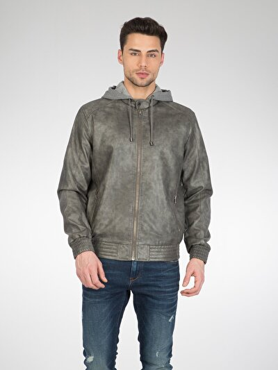 COLINS серый мужской куртки-pu<br>Пол: мужской; Цвет: серый; Размер INT: L;