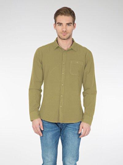 COLINS хаки мужской рубашки длинний рукав<br>Пол: мужской; Цвет: светлый хаки; Размер INT: M;