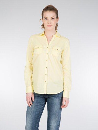 COLINS желтый женский рубашки длинний рукав<br>Пол: женский; Цвет: светло-желтый; Размер INT: S;