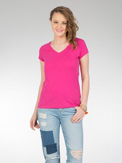 COLINS фуксия женский футболки короткий рукав<br>Пол: женский; Цвет: фуксия; Размер INT: XL;