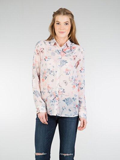 COLINS розовый женский рубашки длинний рукав<br>Пол: женский; Цвет: розовая пудра; Размер INT: L;