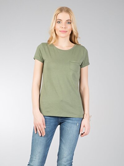 COLINS хаки женский футболки короткий рукав<br>Пол: женский; Цвет: хаки; Размер INT: M;