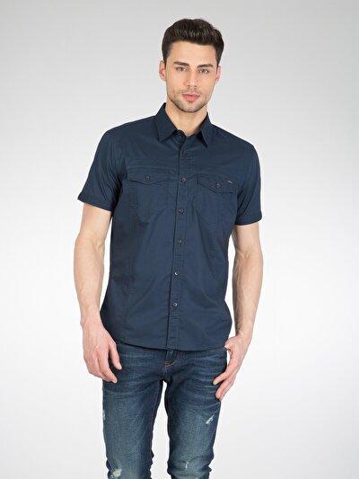 COLINS синий мужской рубашки короткий рукав<br>Пол: мужской; Цвет: темно-синий; Размер INT: S;