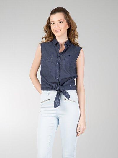 COLINS синий женский рубашки короткий рукав<br>Пол: женский; Цвет: синий; Размер INT: L;
