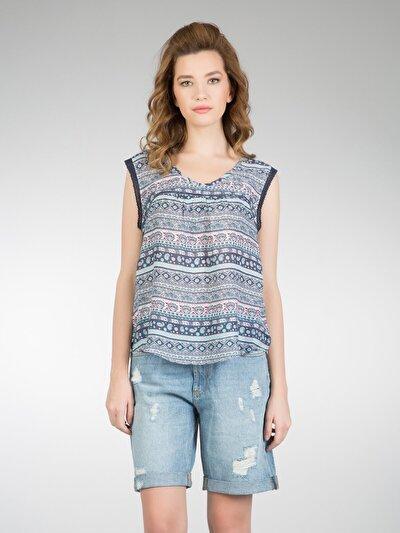 COLINS синий женский рубашки короткий рукав<br>Пол: женский; Цвет: синий; Размер INT: XS;