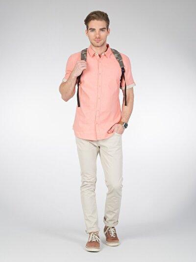 COLINS кораловый мужской рубашки короткий рукав<br>Пол: мужской; Цвет: светлый коралл; Размер INT: L;