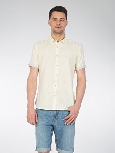 COLINS желтый мужской рубашки короткий рукав<br>Пол: мужской; Цвет: желтый; Размер INT: S;