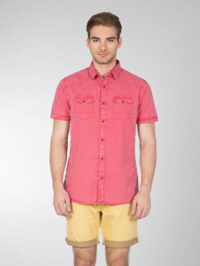 COLINS кораловый мужской рубашки короткий рукав<br>Пол: мужской; Цвет: светлый коралл; Размер INT: M;