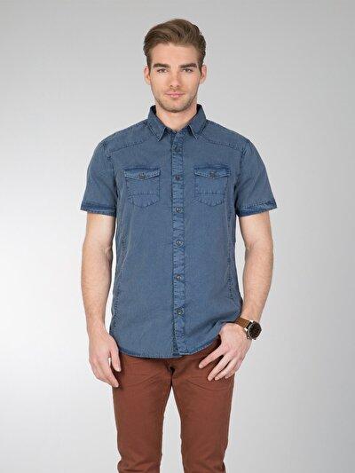 COLINS синий мужской рубашки короткий рукав<br>Пол: мужской; Цвет: синий; Размер INT: L;
