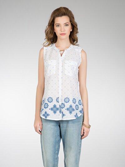 COLINS белый женский рубашки короткий рукав<br>Пол: женский; Цвет: белый; Размер INT: XL;