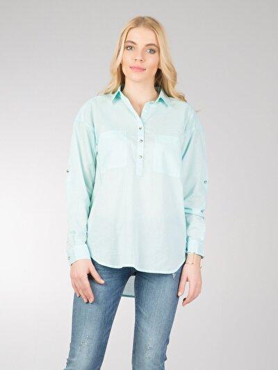 COLINS зеленый женский рубашки длинний рукав<br>Пол: женский; Цвет: зеленая вода; Размер INT: L;