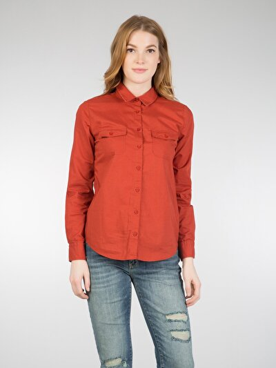 COLINS оранжевый женский рубашки длинний рукав<br>Пол: женский; Цвет: женно-оранжевый; Размер INT: L;