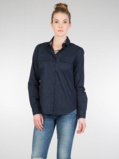 COLINS синий женский рубашки длинний рукав<br>Пол: женский; Цвет: синий; Размер INT: XL;