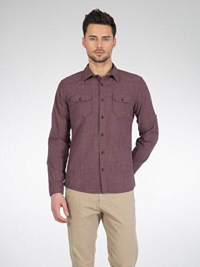 COLINS бордовый мужской рубашки длинний рукав<br>Пол: мужской; Цвет: бордовый; Размер INT: XXL;