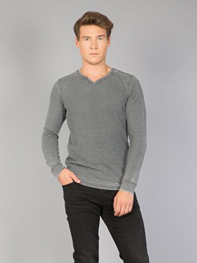 COLINS антрацит мужской футболки длинный рукав<br>Пол: мужской; Цвет: антрацит; Размер INT: S;
