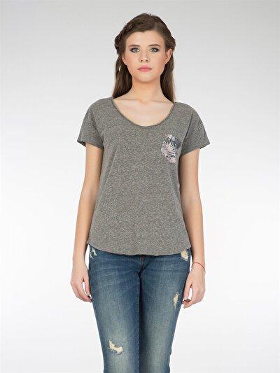 COLINS антрацит женский футболки короткий рукав<br>Пол: женский; Цвет: смешанный антрацит; Размер INT: M;
