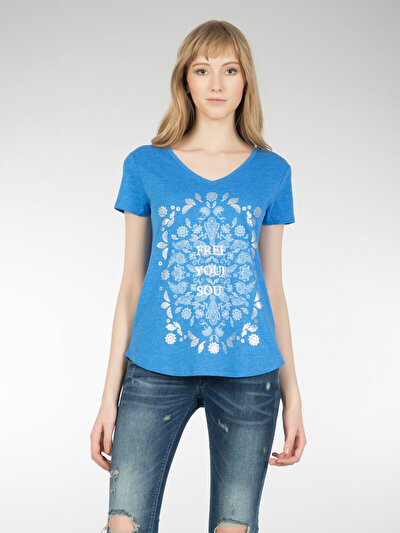 COLINS голубой <br>Пол: женский; Цвет: голубой меланж; Размер INT: XS;
